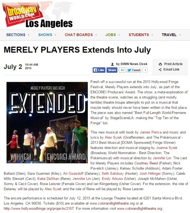 MERELY PLAYERS Extends Into July